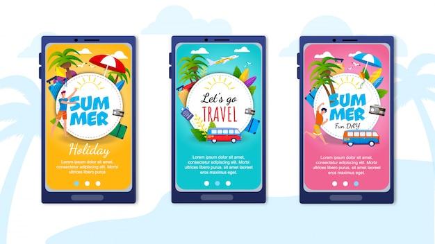Pages de destination définies pour l'application de voyage mobile