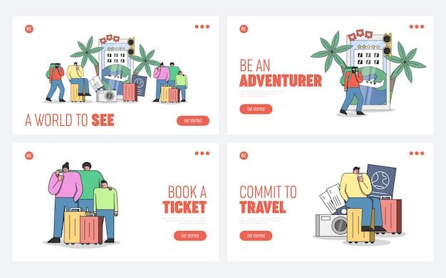 Pages de destination de site web de voyage avec des voyageurs utilisant des applications de réservation sur smartphones