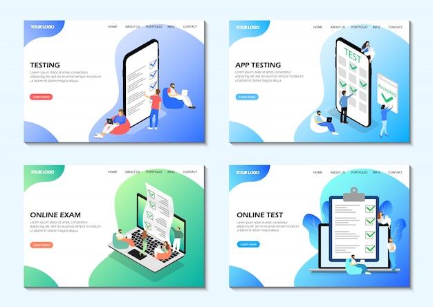 Pages de destination. test en ligne, examen en ligne, test d'application. ensemble de pages web.