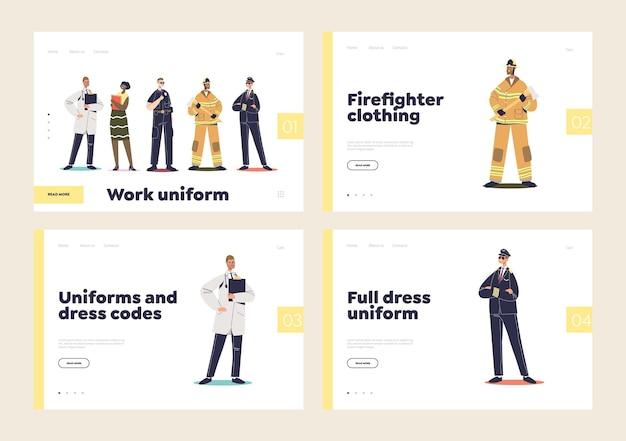 Pages de destination avec des uniformes professionnels pour pilote, pompier, médecin et policier