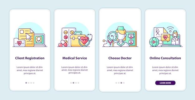 Pages d'écran de l'application d'intégration des soins de santé modernes. procédure pas à pas de l'application smartphone avec des illustrations de dessins animés. modèle d'interface utilisateur mobile en 4 étapes. conception d'interface utilisateur avec des concepts simples de couleur violette