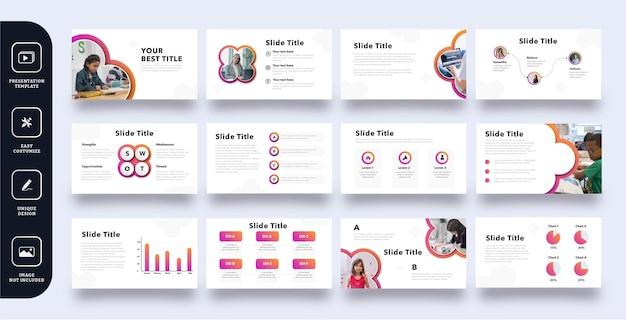 Pages de jeu de modèles de présentation de diapositives d'éducation