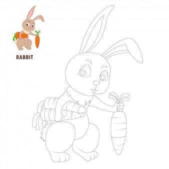 Pages de livre de coloriage dessin animé lapin