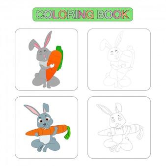 Pages de livre de coloriage. illustration de dessin animé de lapin