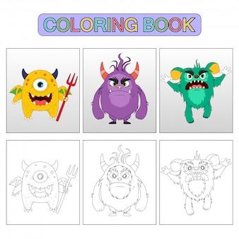 Pages de livre de coloriage. monstre d'illustration de dessin animé