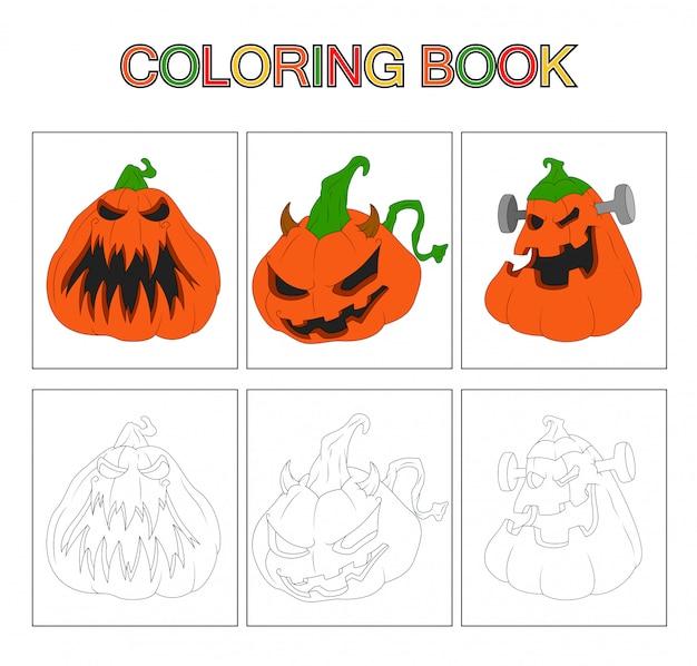 Pages de livres à colorier pour les enfants. caricature de citrouille