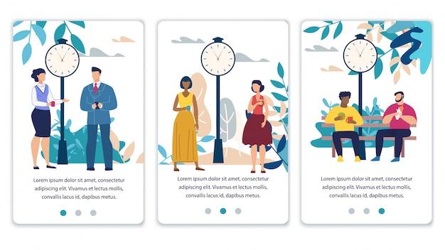 Pages de médias sociaux mobiles définies avec des personnes au repos