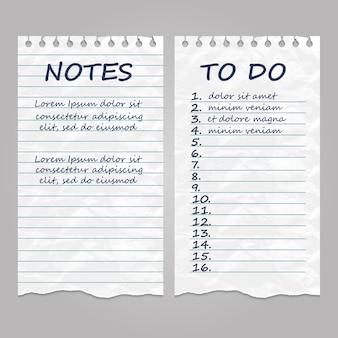 Pages de papier vintage déchirées pour les notes et la liste de tâches