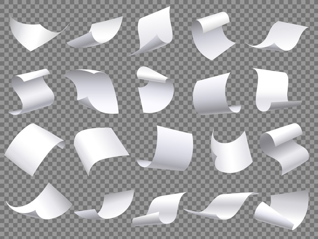 Pages de papier volant, feuilles de documents papiers tombants, document avec coin incurvé et feuille de page volante ensemble d'objets isolés