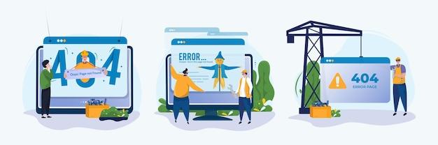 Pages de site web d'erreur introuvables concept de jeu d'illustrations