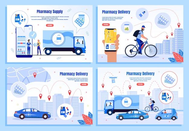 Pages web plates de la société de livraison de médicaments