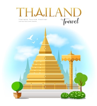 Pagode d'or, fond de conception de voyage en thaïlande, illustration