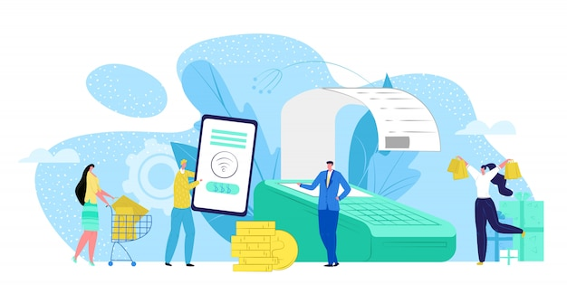 Paiement de l'argent au terminal par illustration de concept de technologie de transaction mobile nfc. paiement numérique électronique par carte, banque de point de vente en ligne. payer avec un appareil sans fil commercial.