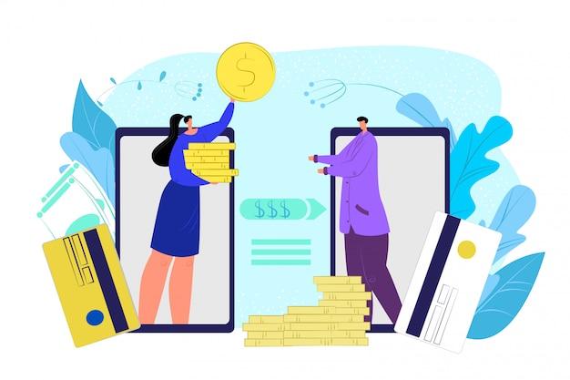 Paiement d'argent mobile par carte, application de transaction de financement par pièces, illustration. transfert numérique par smartphone, paiement bancaire par téléphone en ligne. technologie des services électroniques financiers internet.