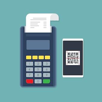 Paiement du terminal de point de vente par balayage de code qr smartphone.