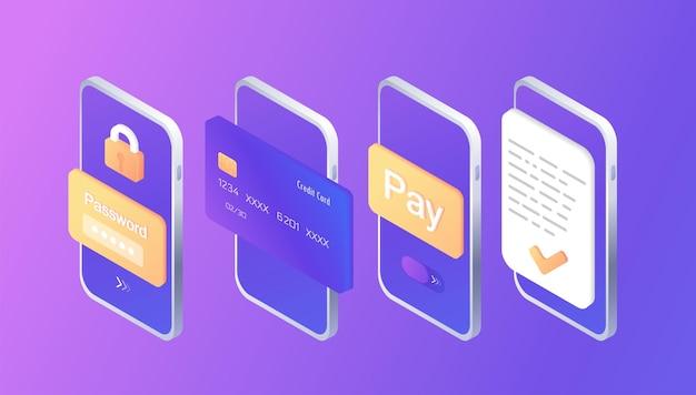 Paiement étape par étape sécurisé compte bancaire protection des données facture électronique finance isométrique