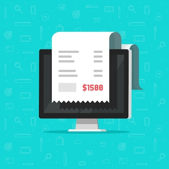 Paiement de facture d'ordinateur et de reçu ou dessin de facture en ligne