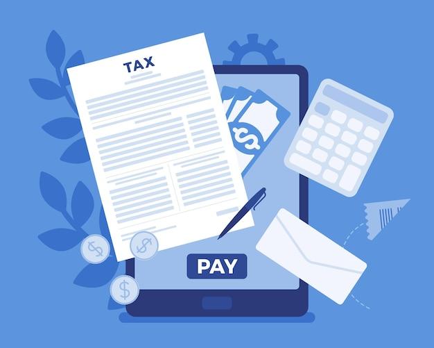 Paiement des impôts en ligne via tablette. service électronique permettant aux contribuables de payer les impôts sur le revenu et les entreprises, facilite le paiement électronique de commodité, système mobile. illustration de dessin animé de style plat de vecteur