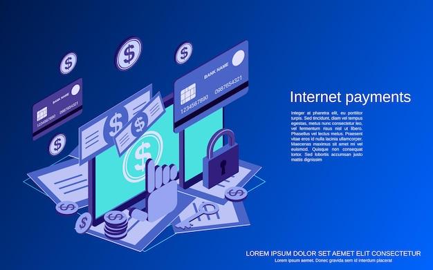 Paiement sur internet, banque en ligne, transaction financière illustration de concept de vecteur isométrique 3d plat
