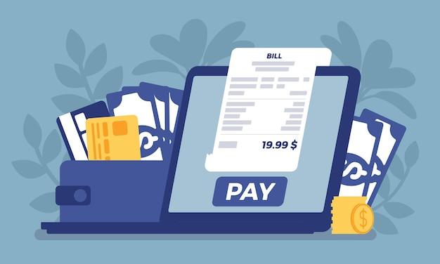 Paiement en ligne de facture numérique. achats, régulation financière via écran d'ordinateur portable, technologie pour remplacer un portefeuille, envoi d'argent depuis l'ordinateur, service électronique. illustration vectorielle