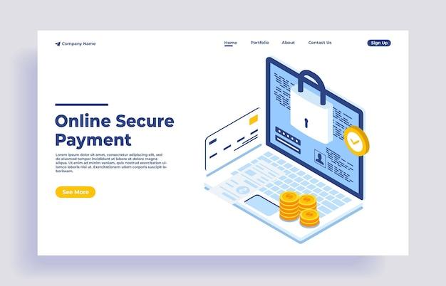 Paiement en ligne sécurisé pour l'illustration vectorielle isométrique du commerce électronique transfert d'argent via internet