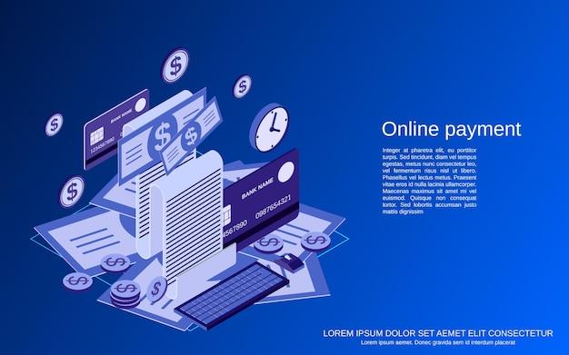 Paiement en ligne, transfert d'argent, transaction financière illustration de concept de vecteur isométrique 3d plat