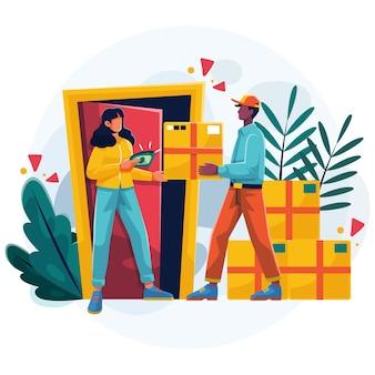 Paiement à la livraison avec des boîtes