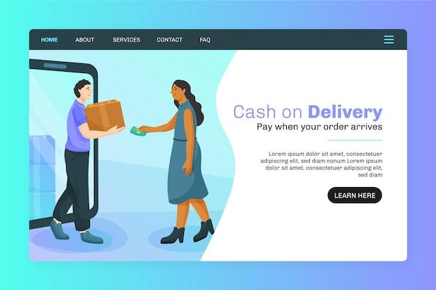 Paiement à La Livraison Concept - Page De Destination Vecteur Premium