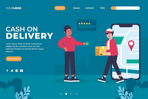 Paiement à la livraison concept - page de destination