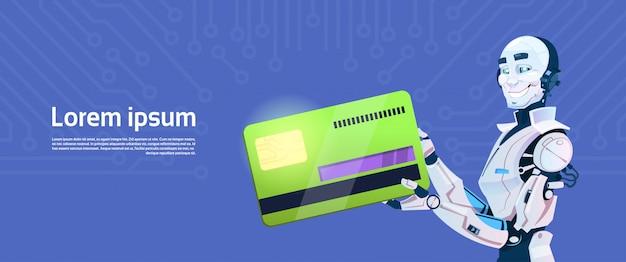 Paiement mobile de carte de crédit moderne de prise de robot, technologie futuriste de mécanisme d'intelligence artificielle