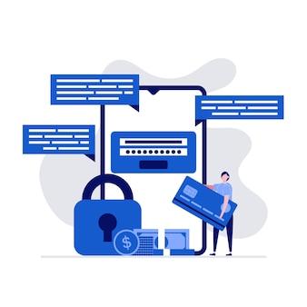 Paiement Mobile Et Concept De Transaction Financière Avec Des Personnages Debout Près De Smartphone Et Carte De Crédit. Vecteur Premium
