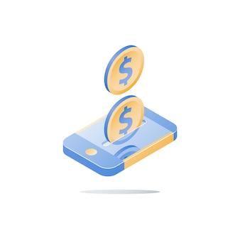 Paiement mobile, services bancaires en ligne, services financiers, smartphone et pièce d'un dollar, téléphone intelligent isométrique, envoyer de l'argent, icône