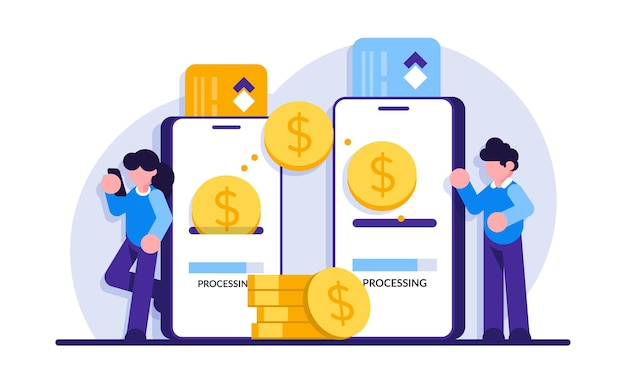 Paiement mobile. transférez de l'argent en ligne. transaction téléphonique, paiement sur internet aux entreprises et services bancaires numériques.