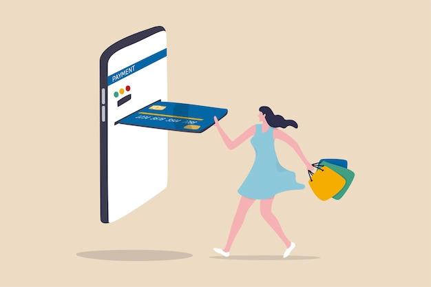 Paiement par carte de crédit d'achat en ligne, concept de produit d'achat de site web de commerce électronique