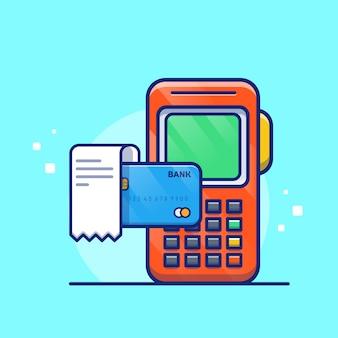 Paiement par illustration de carte de débit. carte bancaire et facture. concept technologique isolé