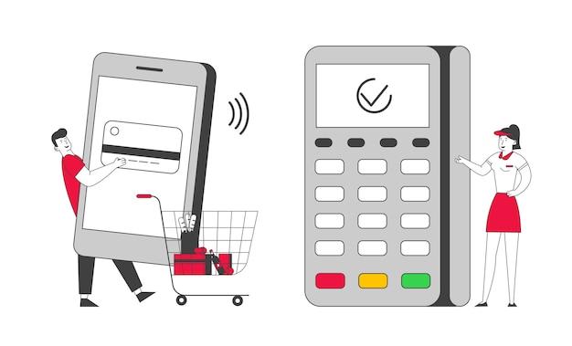 Paiement par smartphone avec lecteur de carte de crédit machine concept.