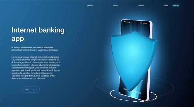 Paiement par téléphone mobile avec technologie nfc et sécurité de paiement de haut niveau. la protection. cybersécurité, antivirus, cryptage, protection des données. développement de logiciels. technologie internet de sécurité
