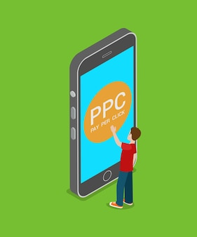 Paiement ppc mobile par clic plat isométrique