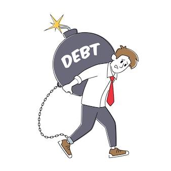 Paiement de prêt, concept de fiscalité. personnage d'homme d'affaires fatigué transportant une énorme bombe ronde avec un fusible brûlant