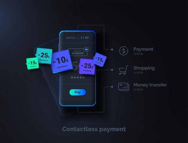 Paiement sans contact téléphone mobile sur fond noir avec une interface de système de paiement transfert d'argent en ligne illustration vectorielle moderne