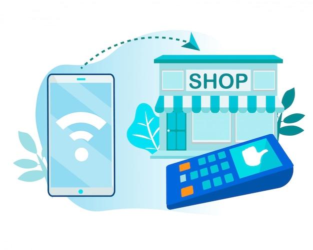 Paiement sans fil à la boutique via téléphone et terminal