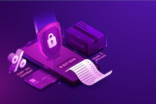 Paiement de sécurité e-commerce isométrique