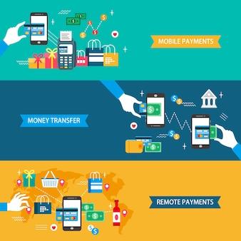 Paiements concept design plat illustration paiements mobiles