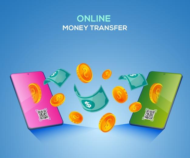 Paiements numériques de transfert d'argent en ligne avec smartphone