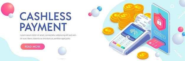 Paiements sans numéraire mobiles sécurisés protection des paiements bannière isométrique vector pos terminal paiement nfc