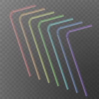 Paille pour boisson. boire des pailles de couleurs arc-en-ciel isolés