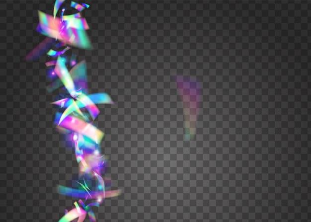 Paillettes d'anniversaire. fond néon. bannière disco. serpentine de noël au laser. guirlande transparente. feuille de fête. cristal art. effet de fête bleu. paillettes d'anniversaire roses