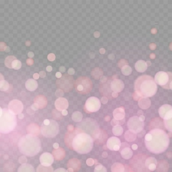 Des paillettes douces scintillent des rayons défocalisés lumières bokeh fond transparent.