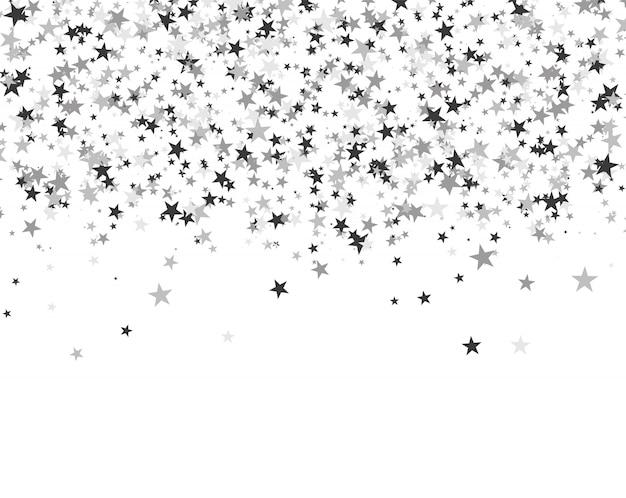 Paillettes d'étoiles sur fond blanc