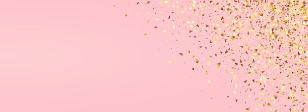 Paillettes jaunes fond rose panoramique nuptiale. motif de clinquant de papier. carte postale riche en éclaboussures dorées. illustration lumineuse d'aluminium.